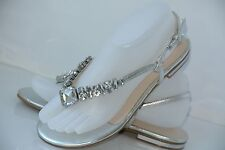 NEW Nine West Womens Sz 7 M Silver Metallic Rhinestock Strappy Flip Flop Sandals