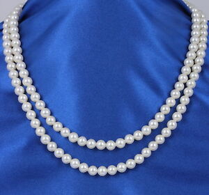 VINTAGE TWO STRAND FAUX PEARL NECKLACE FASHION 1992