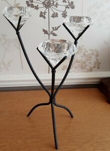 Black metal modern 3 arm table centre with cut glass tealight, holders