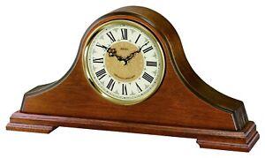Seiko Oak Finish Westminster Chime Wooden Battery Napoleon Mantle Clock QXJ013B