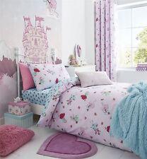 fées Fleurs à pois rose bleu mélange de coton Housse couette double & Drap