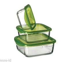Glass Boxes Bowls Food Storage Containers Kitchen Tins Fresh Catering Green Lid