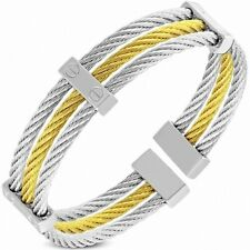 Bracelet Cuff in Wire Cable Twisted with 2 Strand Stainless Steel with 2 Bri