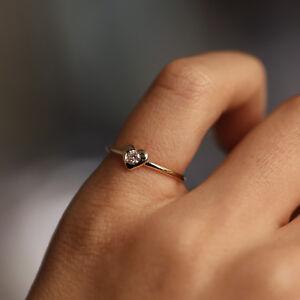Diamond Heart Ring | Dainty Ring | Wedding Engagement Ring | Minimalist Jewelry