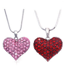 Small Red Pink Heart Necklace Set Valentine's Day Wife Daughter Jewelry GIFT