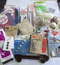 Lot of 22 sewing items, electric scissors, making buttons supplies, quilting
