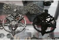 Pendant Necklace Inverted Pentagram Goat Head Skull Occult Charm Metal Baphomet