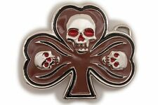 Skeleton Head Clover Leaf Mocha Brown Men Women Silver Metal Belt Buckle Skull