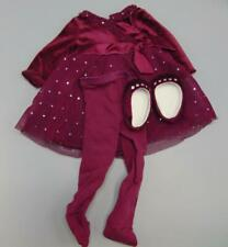 Authentic American Girl Maroon Holiday Dress w/ Tights and Shoes