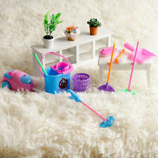 1SET 9pcs Mini Doll Accessories Household Cleaning Tools For Dollhouse E1N2