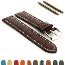 Men's Two-piece Genuine Leather Watch Strap Band Croco RM SS. Buckle Spring Bars
