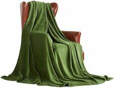 """King Plush Green Blanket 90"""" x 102"""" Velvet Soft Warm Blanket Throw Fleece"""