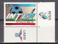 FRANCOBOLLO INTER CAMPIONE  ITALIA CALCIO 1988 - 1989 CON BORDO APPENDICE INTER