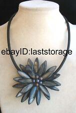 "black sea shell flower & freshwater pearl  flower handmade  necklace 18"" nature"