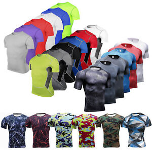 Men Compression Base Layer Short Sleeve T-shirt Sports Fitness Gym Tight Top Tee