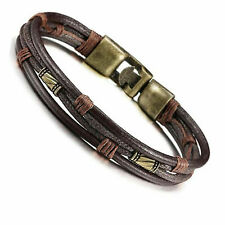 Vintage Men's Leather Wrist Band Brown Rope Bracelet Bangle Braided Cuff Vintage