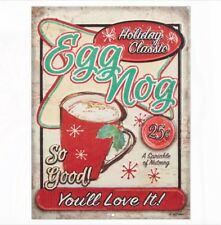 "Egg Nog ""Holiday Classics"" Embossed 16"" Retro Style Sign"