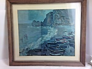Claude Monet Boats on Beach by Impressionist Museum Paris Framed Matted 28 x 31