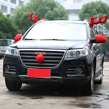 2017 christmas car decor two antlers and red nose reindeer car truck vehicle hot
