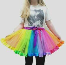 Ladies Girls TU TU Fancy Hen Party Clown Rainbow Multi Coloured Skirt SizeUK8-14