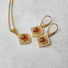 Amber Earrings Necklace 14k Gold Plated Amber Set Earrings Dangle Pendant GIft