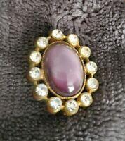 Vintage small Gold Tone Purple stone Diamante Brooch Pin