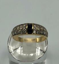 585er Gold Ring mit diamanten und einem Saphir 56