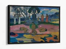 PAUL GAUGUIN, DAY OF THE GOD -FLOATER EFFECT FRAMED CANVAS ART PRINT- PINK BLUE