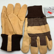 2 Pair Firm Grip Leather Canvas Gloves~Large Size~Rugged/Durable/Flexi ble