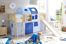 Kinder-Bettgestelle ohne Matratze aus Kiefer mit Natur Rutsche