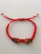 FENG SHUI RED STRING  BRACELET WITH DOUBLE CARP FISH FOR GOOD FORTUNE AND WEALTH