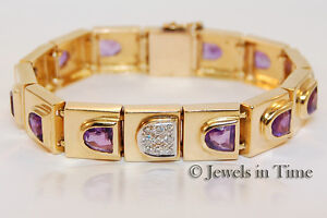 Amethyst & Diamond Ladies Bracelet in 14k Yellow Gold