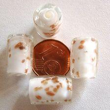 4 perles TUBES VERRE style MURANO 15x10mm ORANGE touche DORE DIY création bijoux