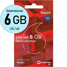 Vodafone SIM-Karte 6GB DATEN EU-Roaming LTE Niederlande Aktiviert Anonym Prepaid