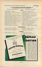 ADVERTISEMENT Bordeaux Chateau Gontier Vineyard Wine Maker Label
