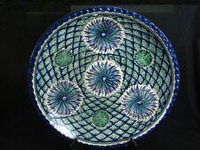 "Antique Jerusalem Palestine Armenian Pottery Signed Hand Painted 16"" Bowl Floral"