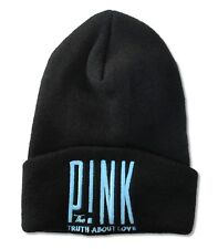 Pink Truth About Love Blue Stitch Black Beanie Ski Hat Cap New Official P!nk