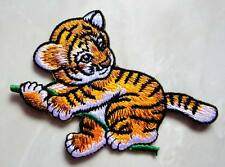 Cute Climbing Baby Tiger Panthera Tigris Embroidered Iron on Patch Free Postage