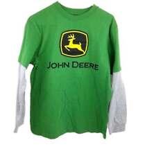 NWT Boys Girls JOHN DEERE Mock Layered Long Sleeve Green Logo T-Shirt Size Sm 7