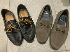Mens Navy Leather Boat Shoes and Grey Canvas Loafers Size 9