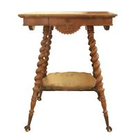 Antique French Walnut Jacobean  Occasional Table with Turned Legs