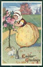 Easter Greetings Girl Rabbit Raphael Tuck Oilette postcard cartolina QT5861