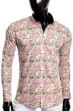 Men's Casual V Neck Shirt Summer Linen Like 100 Cotton Slim Fit Long Sleeve Blue XXL
