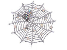October Spider Lily Web cheap silver Crystal Rhines Brooch Pin Jewelry partyGift