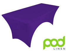 CADBURY PURPLE spandex stretch cover tablecloth for 6ft table 1 SIDE ARCHED DJ