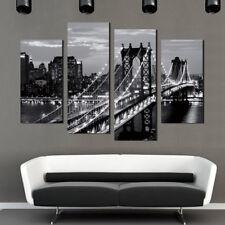 Tableau Peinture Huile Abstraite Maison Pont New York Mural Art Décor Sans Cadre