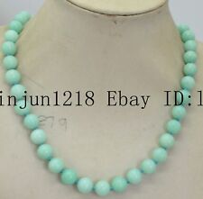 """Natural 8mm Light Blue Amazon Sapphire Beads Necklace 18 """""""