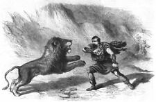 THEATRE. Crockett, Lion-Tamer, Performing With his lions at Astley's, 1861