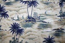 Mens Hawaiian Medium Shirt Hawaii Sailboats Mountains Palm Made in USA EUC