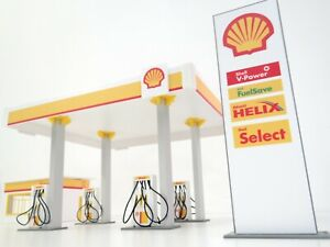 Gas Station in Scale 1:43 Diorama Model Kit Petrol Station Display Dioramas